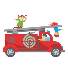 Fire truck and children vector