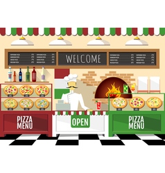 Flat style pizzeria interior vector