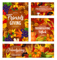 friendsgiving holiday potluck dinner harvest party vector image