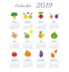 Funny annual calendar 2019 vector