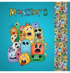Funny cartoon monsters card and border vector
