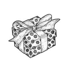 gift box with ribbons and bow sketch engraving vector image
