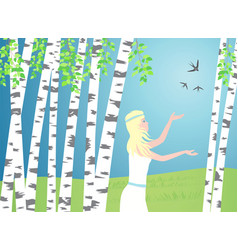 girl walks between the birches birds fly over vector image