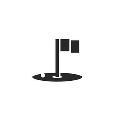 golf logo black and white minimal design hole vector image