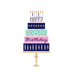 greeting card with hand drawn cake happy birthday vector image