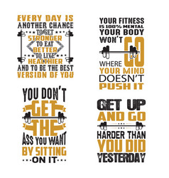 gym quote and saying set good for print vector image