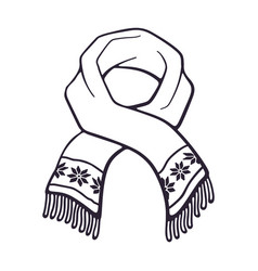hand drawn doodle winter scarf with snowflake vector image