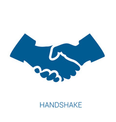 handshake blue flat icon vector image