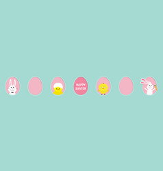 happy easter text bunny rabbit hare holding vector image