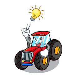 have an idea tractor mascot cartoon style vector image