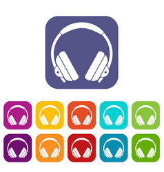 headphone icons set flat vector image
