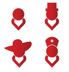 Heart people icon red vector