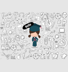 Hello girl graduated pupils education and back to vector