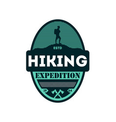 Hiking outdoor expedition vintage isolated badge vector