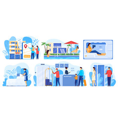 hotel service people cartoon characters staying vector image