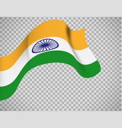 Indian flag on transparent background vector