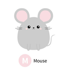 Letter m mouse zoo animal alphabet english abc vector
