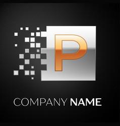 letter p logo symbol in the golden-silver square vector image