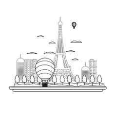 Line air balloons citycape and eiffel tower vector