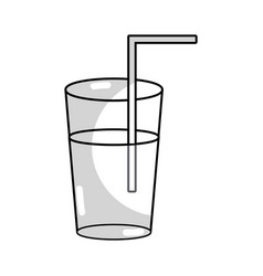 Line refreshment in bottle glass to drink vector