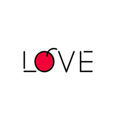 love logo icon lettering contains red fruit flat vector image