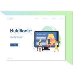 nutritionist website landing page design vector image