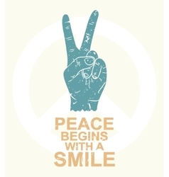 Peace begins with a smile - typography design t vector image