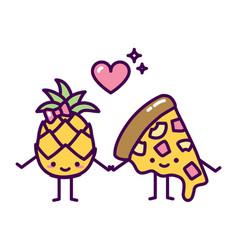 pineapple pizza couple hawaii cute kawaii love vector image