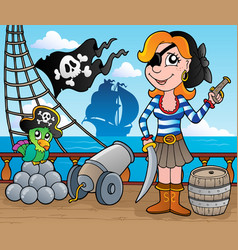 pirate ship deck theme 8 vector image
