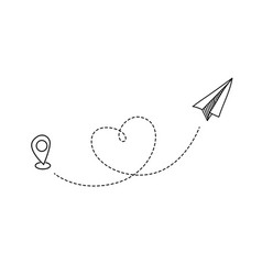 Plane flight flying paper airplane with heart vector