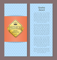 quality award premium best quality 100 gold label vector image