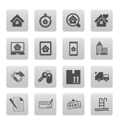 Real estate icons on black squares vector