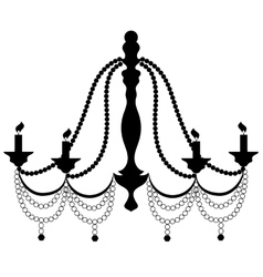 Retro Cryctal Chandelier with Candles Silhouette vector image