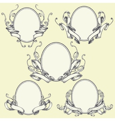 Ribbon frame and border ornaments set 04 vector image