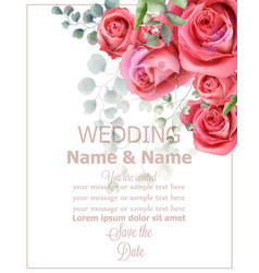 rose flowers wedding card watercolor vector image