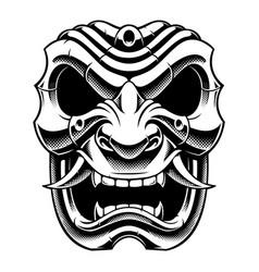Samurai warrior mask bw version vector
