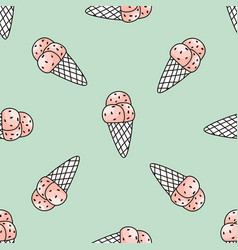 seamless pattern with pink ice cream on mint vector image