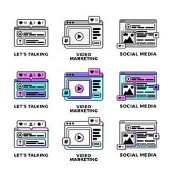 set a social media vector image