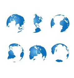 set - blue continents vector image
