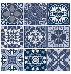 set nine seamless abstract patterns vector image