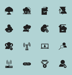 Set of 16 editable web icons includes symbols vector
