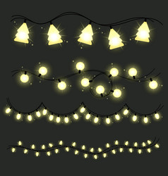 Set of christmas lamps garlands warm light vector