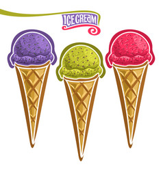 Set of ice cream in waffle cone vector