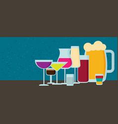 set of modern flat design drink or bar icons vector image