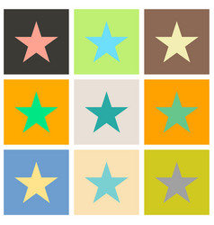 Set of star flat icon flat rank favorite web vector