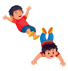 set two boys one lying on his stomach the vector image