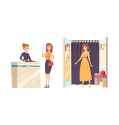 shopping young female in changing room vector image