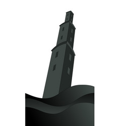 Silhouette large tower over raging sea under vector