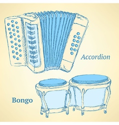 Sketch bongos and accordion in vintage style vector image
