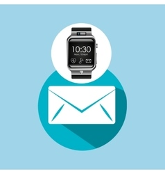 Smart watch on hand-email envelope vector